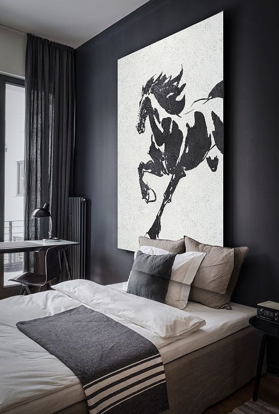 Black White Horse Hand Made Extra Large Canvas Painting Abstract On Original Art By Celine Ziang