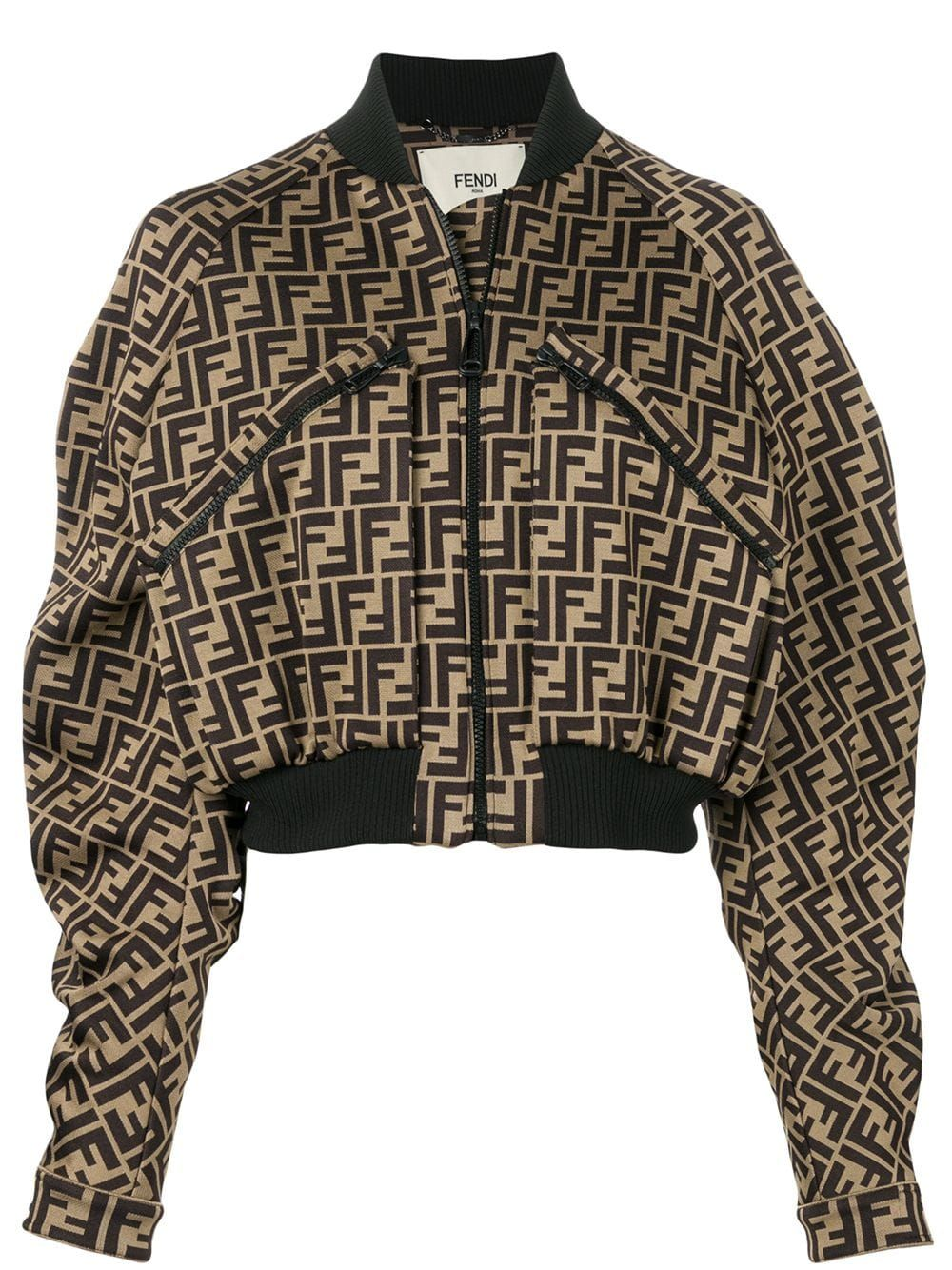 7c05b8c9 Fendi monogram cropped bomber jacket - Brown in 2019 | Products ...