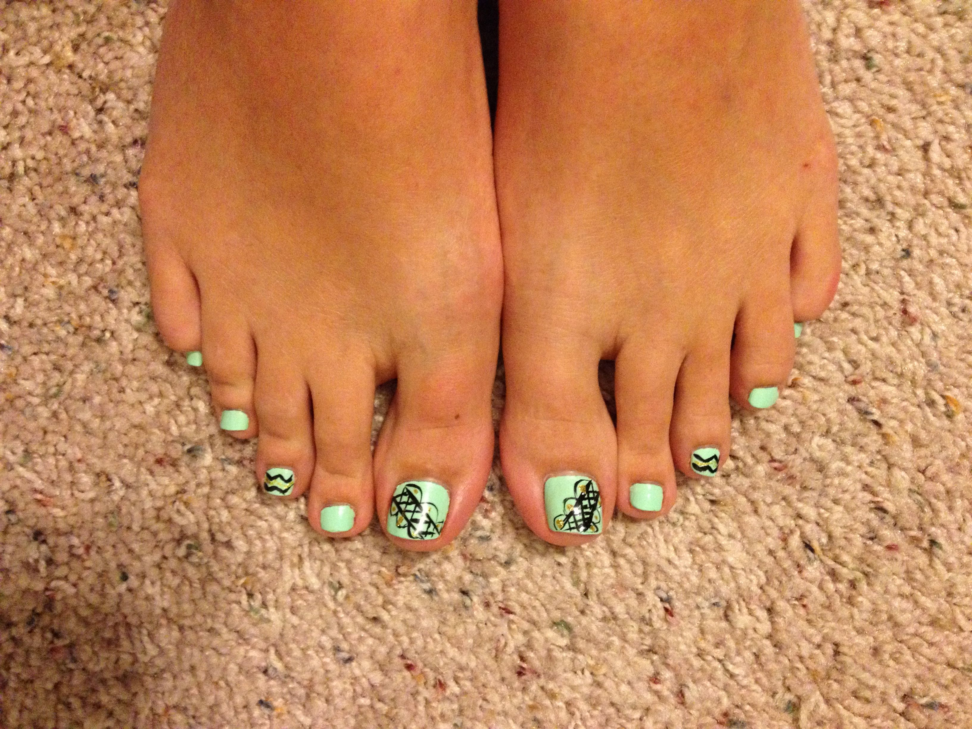 Mint green toe nail polish with designs #toenails#mint#green#polish ...
