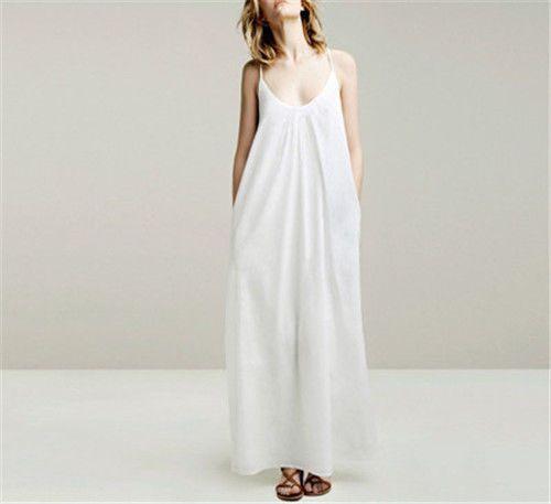 Women sexy Long maxi loose casual spaghetti strap cotton pleated dress S M L NEW