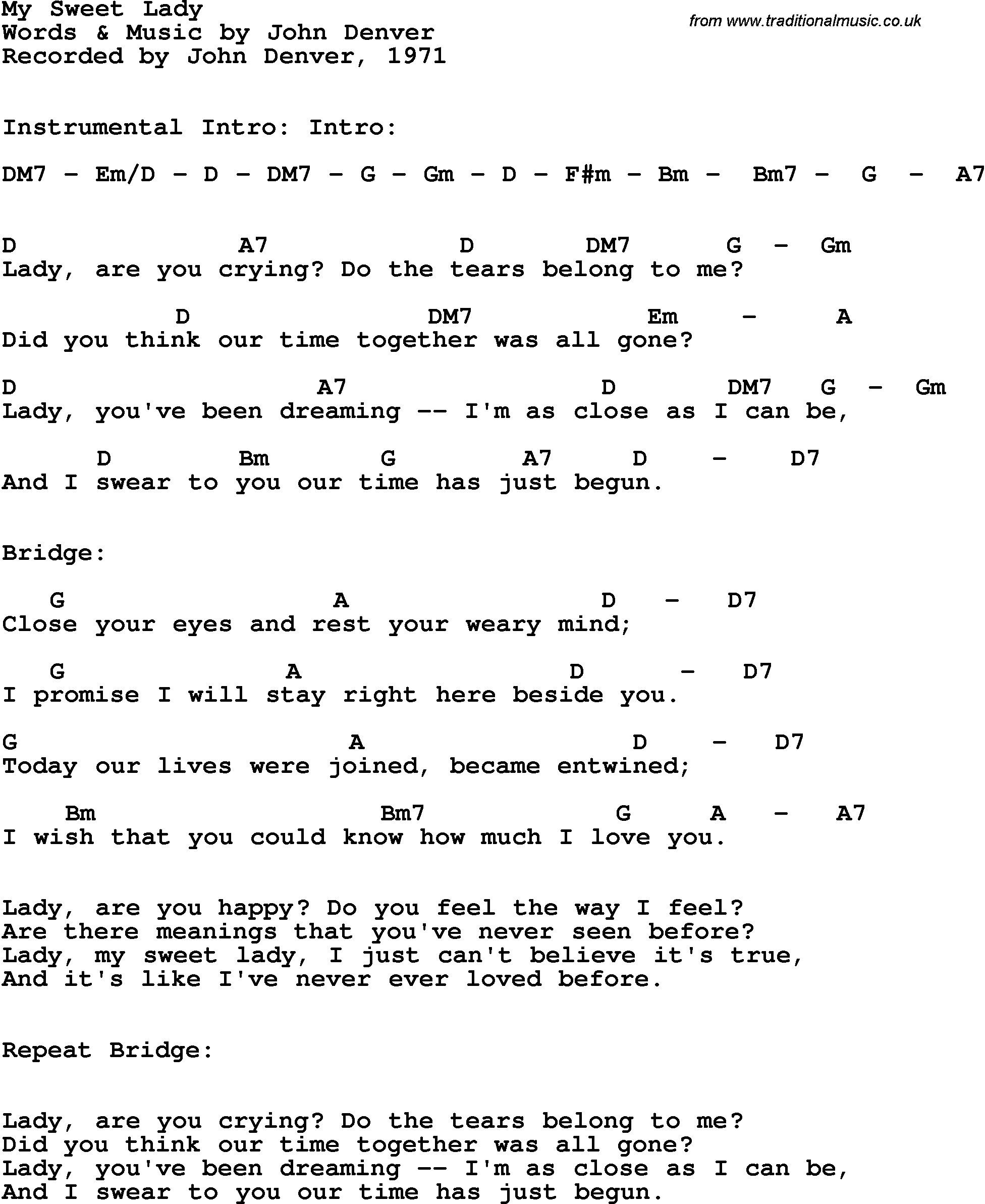 Chords For My Sweet Lady