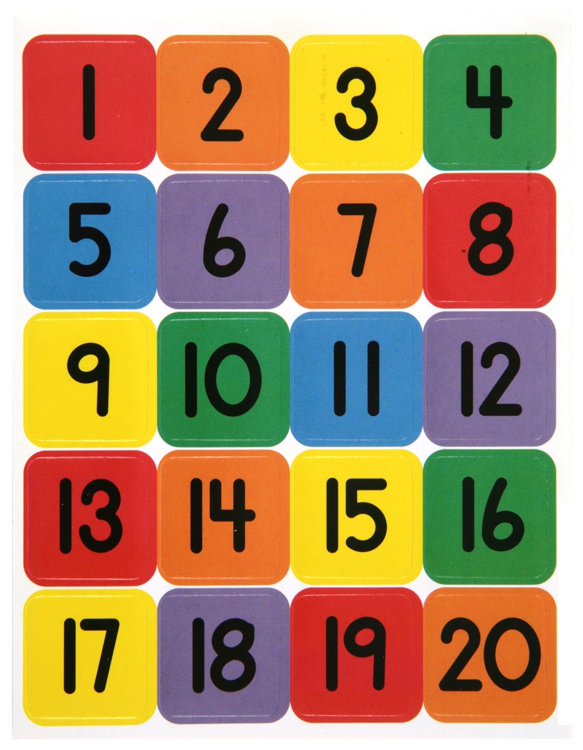 1 20 Number Chart For Preschool