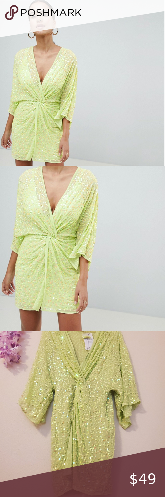 NWT ASOS DESIGN scatter sequin knot front kimono in 2020