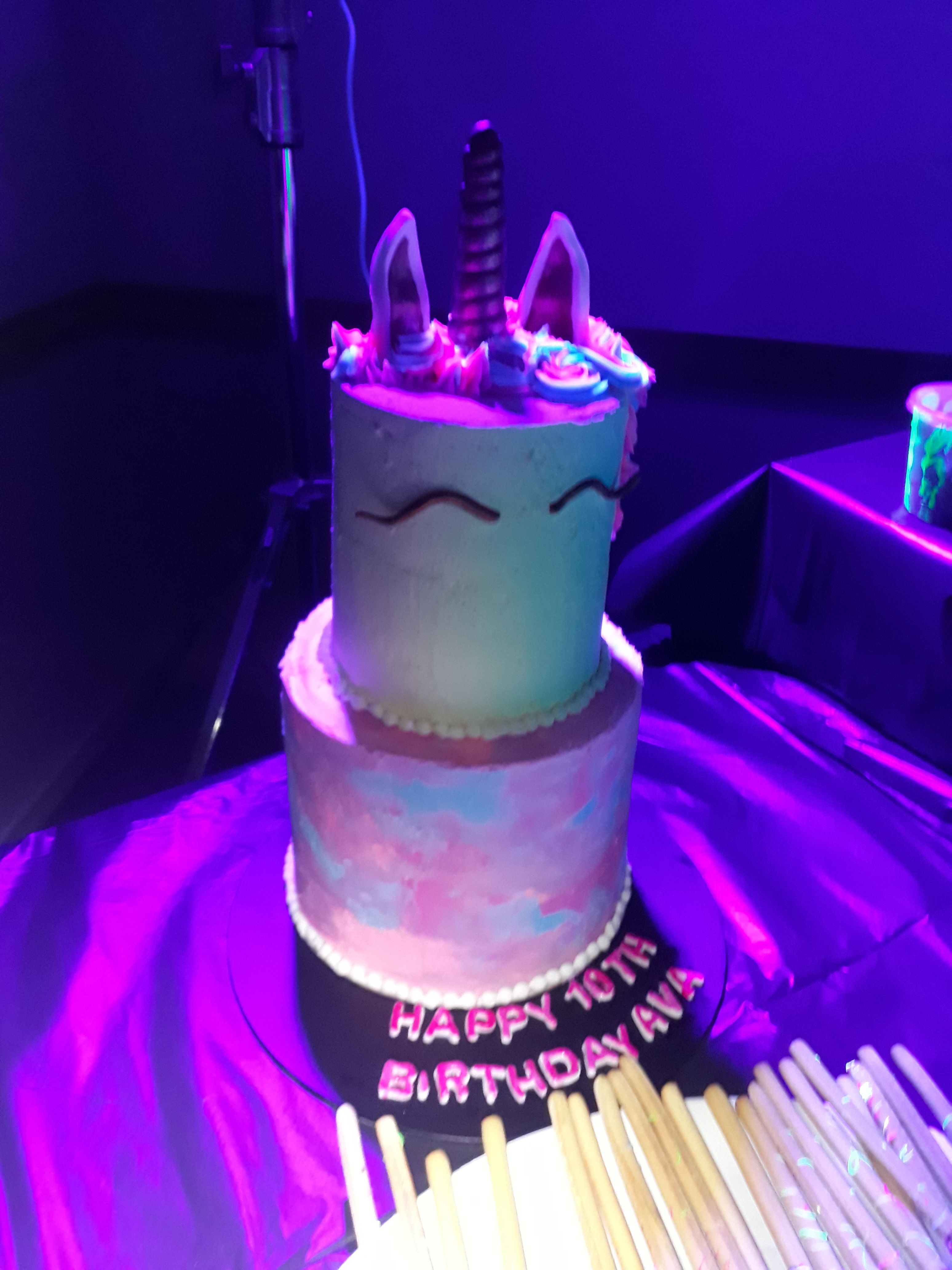 Pleasant Glow In The Dark Unicorn Cake With Images Sweet 16 Parties Personalised Birthday Cards Petedlily Jamesorg