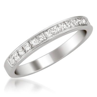 T W Certified Princess Cut Diamond Channel Set Wedding Band In