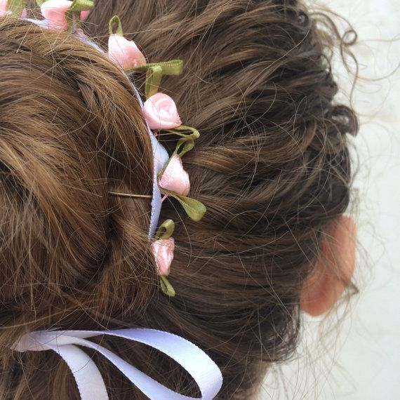 Pink and White Flower Bun Wrap, Ballet Bun, Dance Hair Acessory, Silk Flower Accessory, Ballerina Performance, Waltz of Flowers