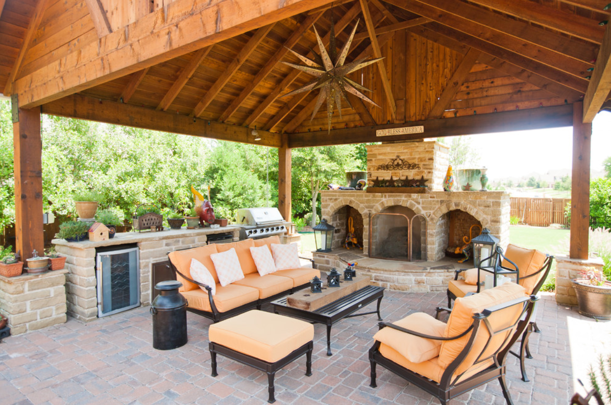 Outdoor Entertainment Area With Fireplace And Covering