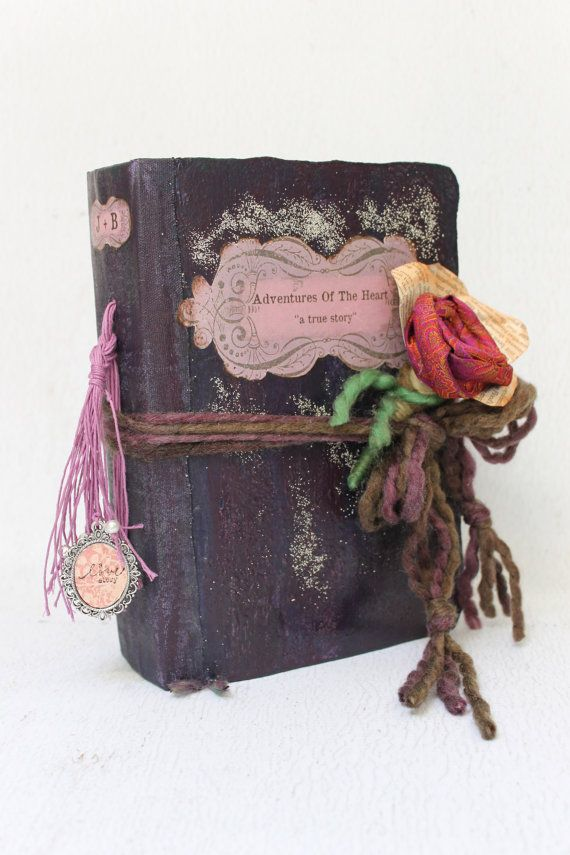 Vintage style Wedding guest book and Wedding scrapbook Rustic purple ...