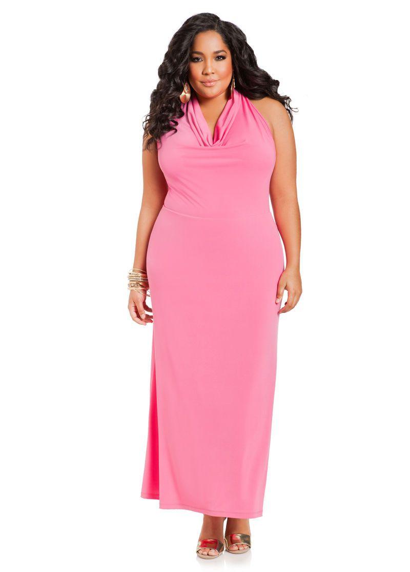 c6a3147146a Drape Neck Halter Maxi Dress - Ashley Stewart Halter Maxi Dresses