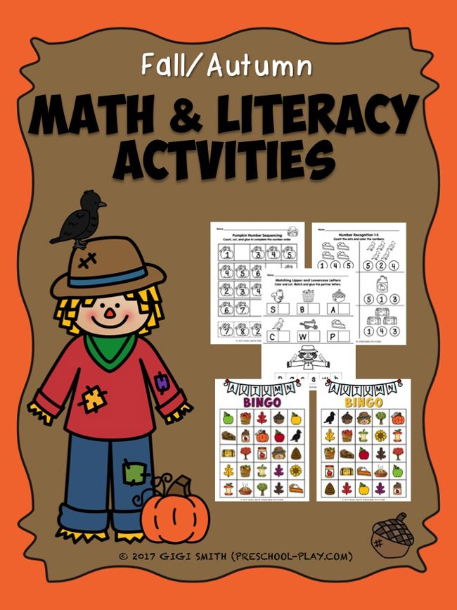 Printable Fall Math and Literacy Activities | Learning activities ...