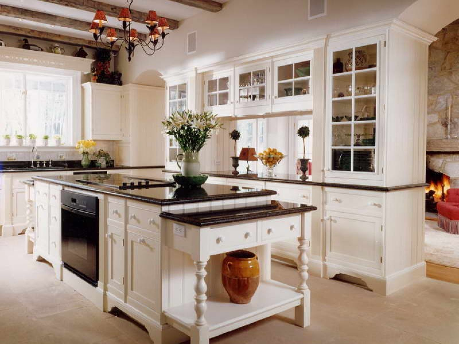 White Kitchen With Black Granite Countertops