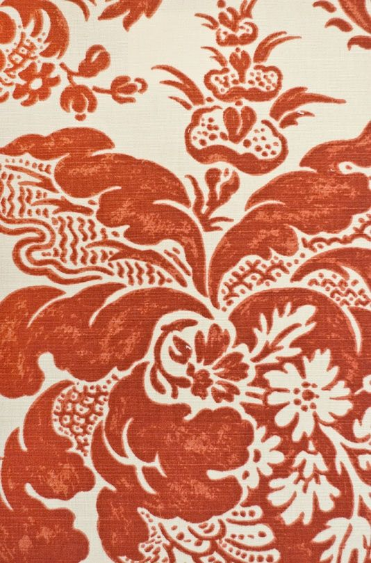 Preston Damask Linen Fabric Linen upholstery fabric with hand printed damask design in rust red. Minimum order of 5 metres.