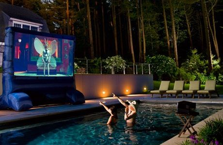 Yes A Home Theatre Whilst Swimming In The Pool At Home Movie Theater Best Outdoor Projector Outdoor Movie Theater