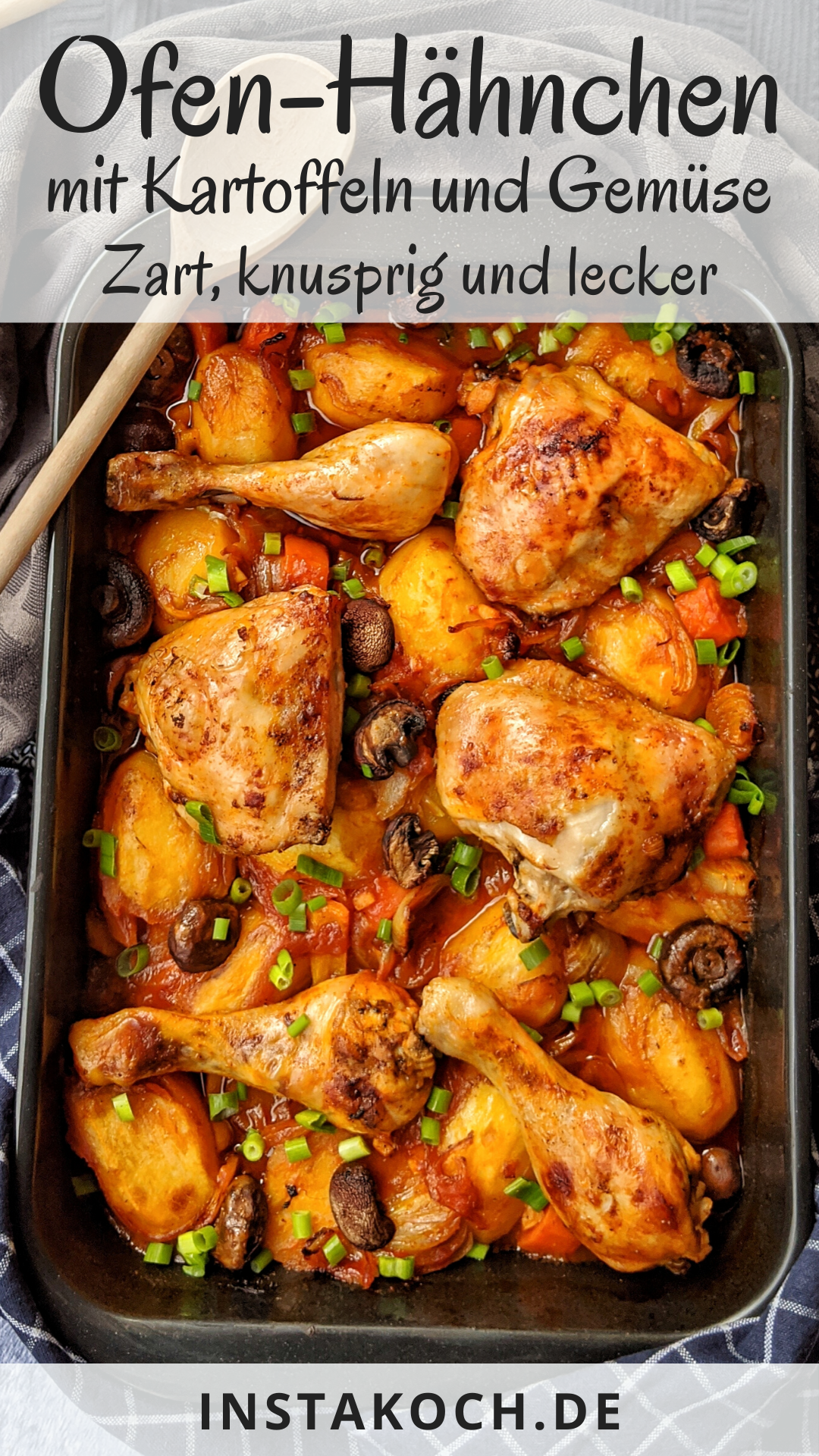 Photo of Oven-fried chicken with potatoes and vegetables in tomato sauce – click for a delicious recipe