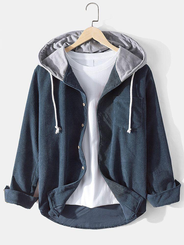 Chemise à capuche en velours côtelé pour homme   – gömlek