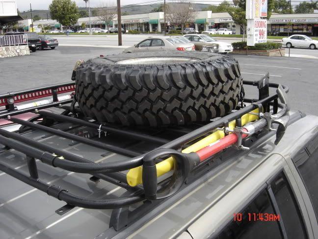 mount tire truck roof rack jeep xj