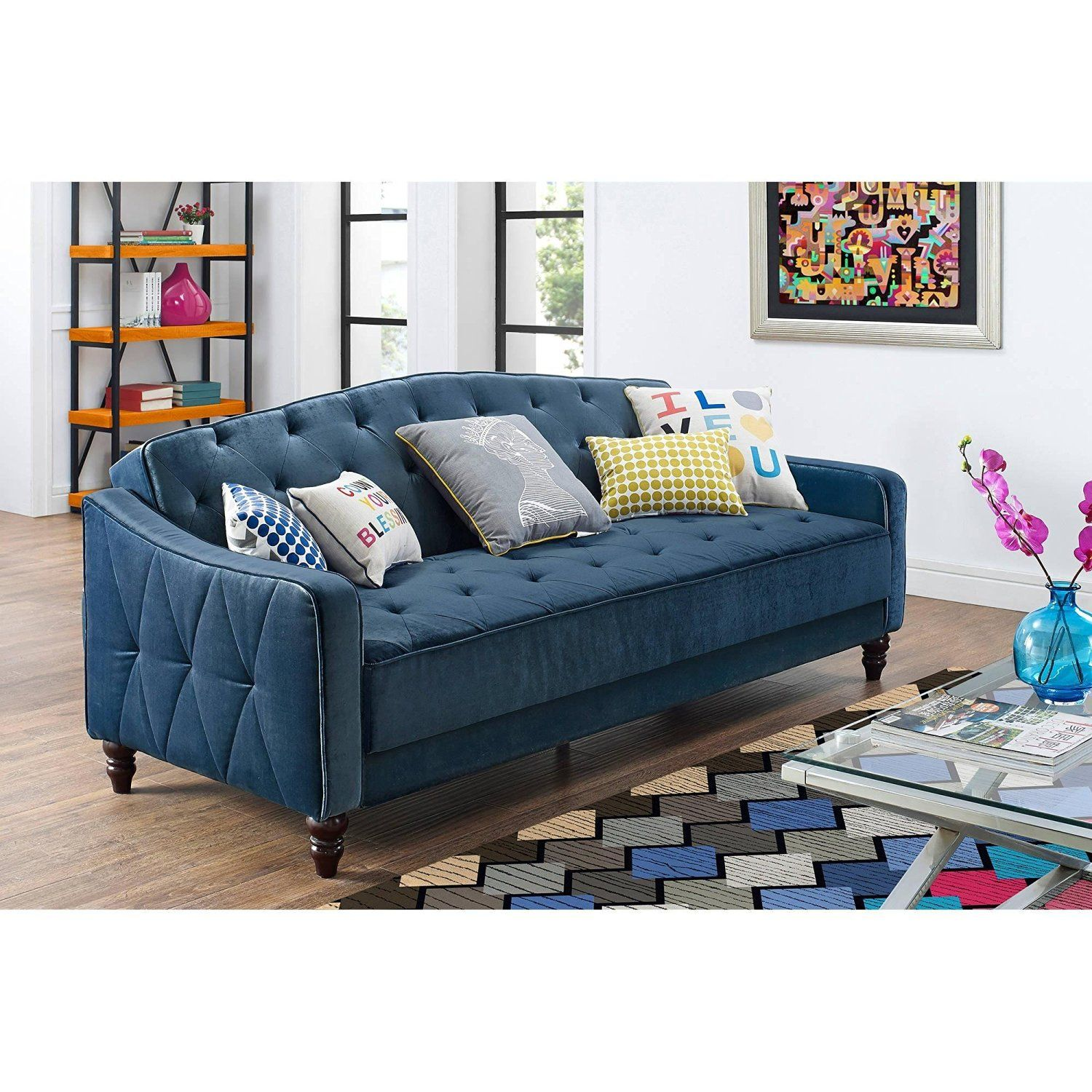 Navy Blue Vintage Style Tufted Velour Sofa Bed Home Kitchen