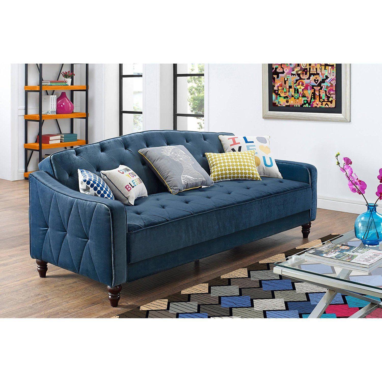 Amazon Com Navy Blue Vintage Style Tufted Velour Sofa Bed Home Kitchen Tufted Sofa Cheap Sofas