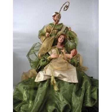 Nacimiento o belén de Navidad verde 1 pieza sobre base de madera h.72 ms