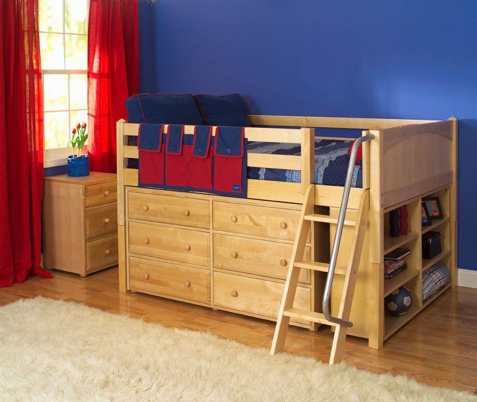 Maxtrix Kids Low Loft Bed W Built In Dresser Bookcase Natural
