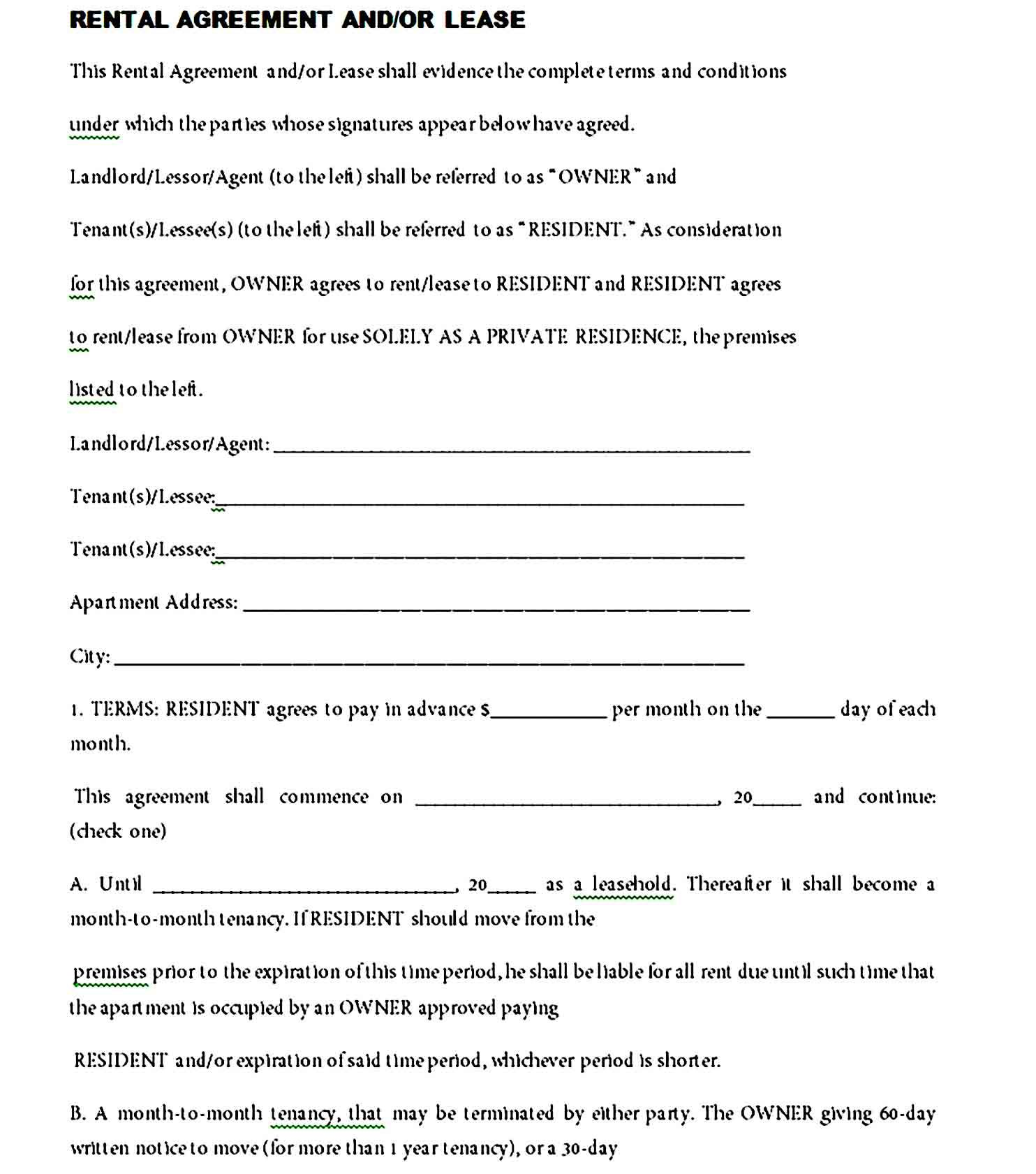 Room Rental Agreement California Free Form Unique Residential Lease Agreement Template Room Rental Agreement Lease Agreement Apartment Lease