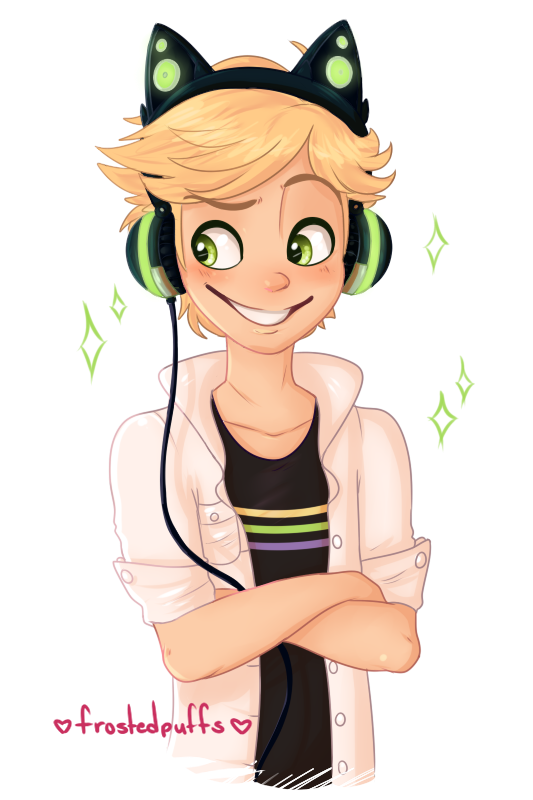There Was A Mention On Tumblr Of Adrien Wearing Cat Headphones I Couldnt Resist Please Dont Repost