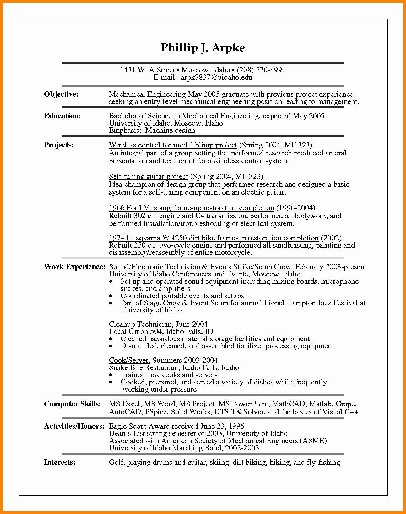 Entry level mechanical engineering resume fresh mechanical