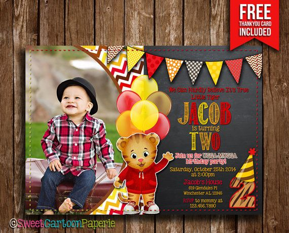 Daniel Tiger Invitation Daniel Tiger Photo by SweetCartoonPaperie