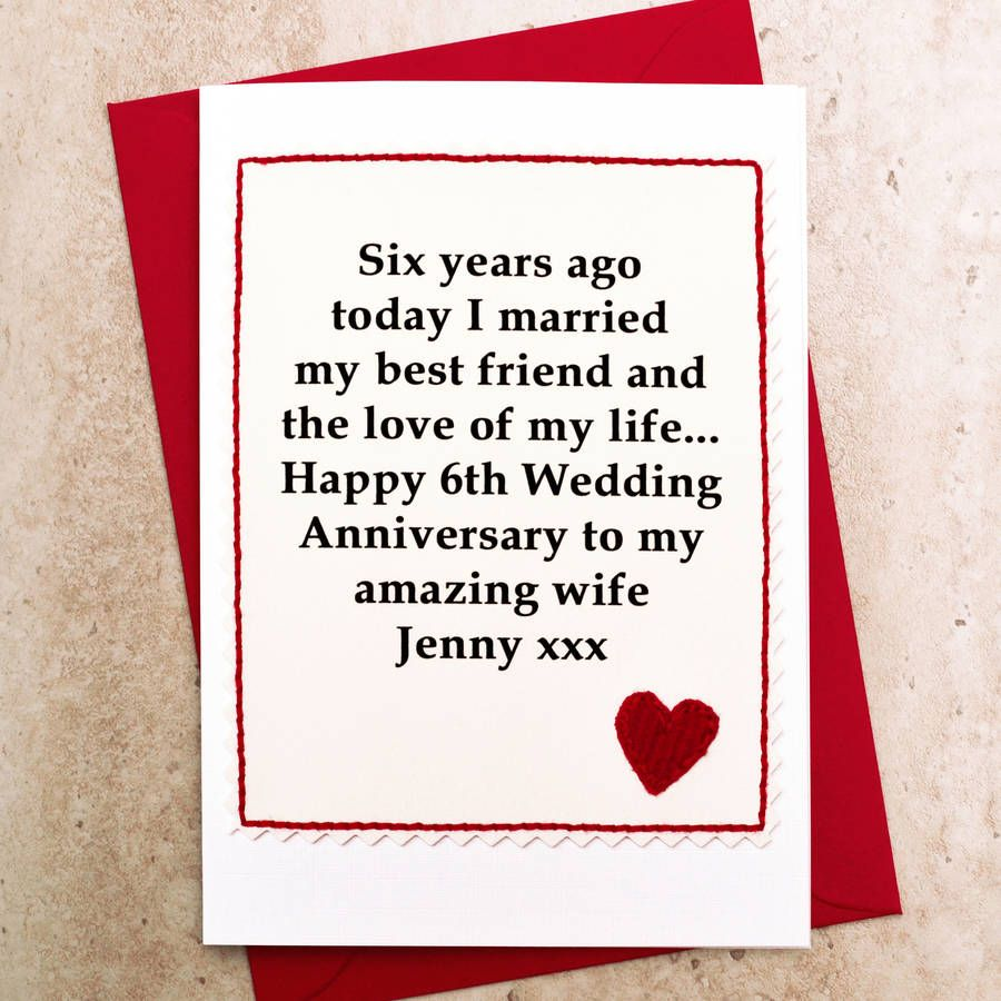 Personalised 6th wedding anniversary card wedding anniversary a lovely handmade personalised 6th wedding anniversary card perfect for giving to your husband or wife on your sixth anniversary kristyandbryce Images
