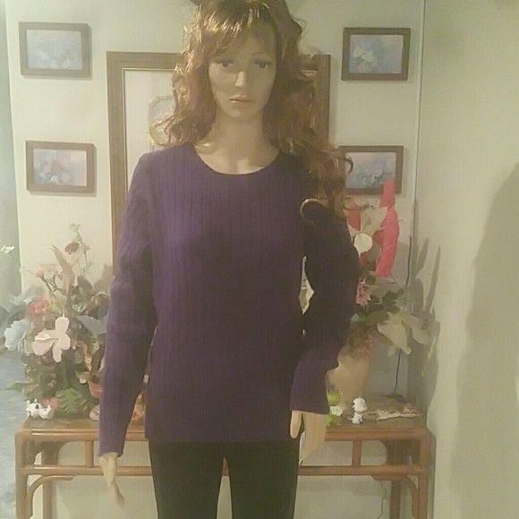 Sweater St. Johns bay Purple cable knit crew sweater. Size large St. John's Bay Sweaters Crew & Scoop Necks
