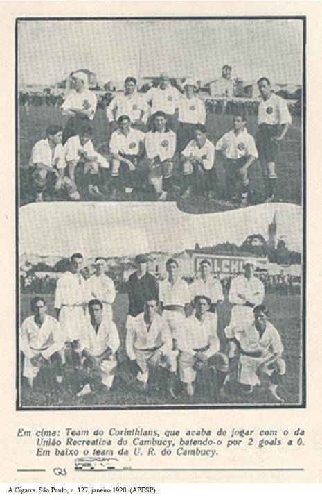 1920 -Partida de Futebol - Corinthians x União Recreativa do Cambucy. Ao fundo a Igreja da Glória também no bairro do Cambuci - SP