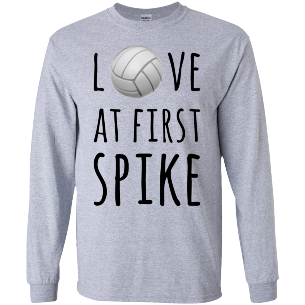 Love At First Spike Ls Tshirt Volleyball Shirt Designs Volleyball Sweatshirts Cute Volleyball Shirts