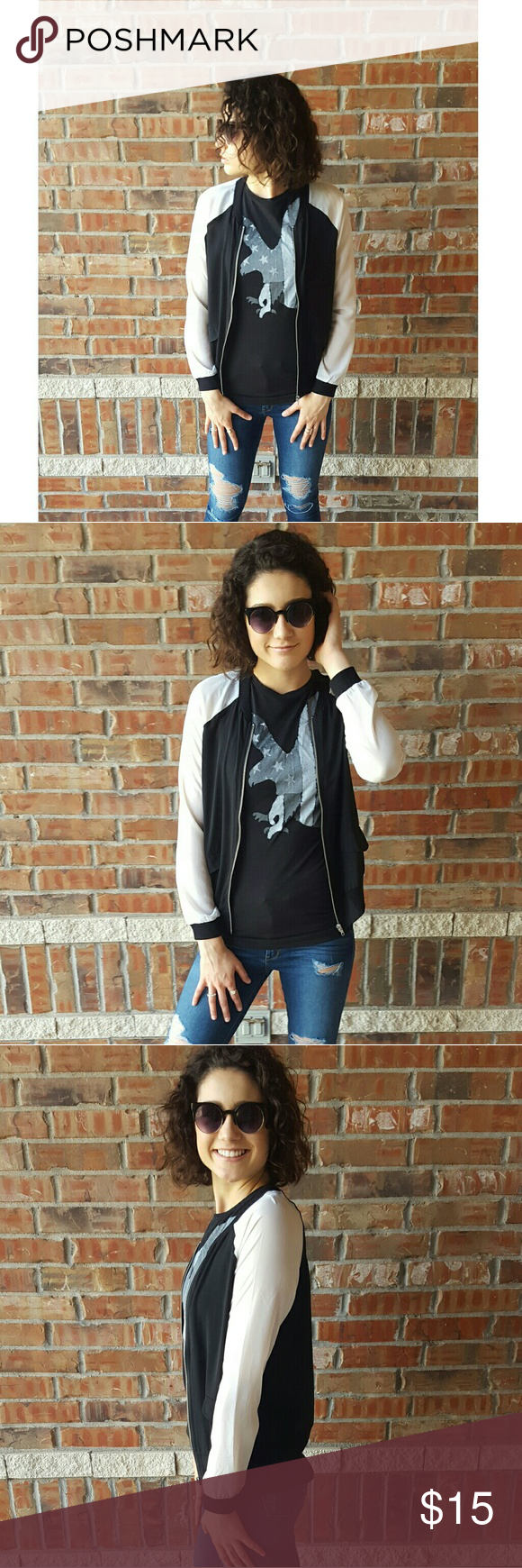 Bomber Jacket >Black and white bomber jacket >Sheer material >Zips up >Worn once, perfect condition >Only the jacket is available in this listing. The tank top is available in a separate listing. Jackets & Coats