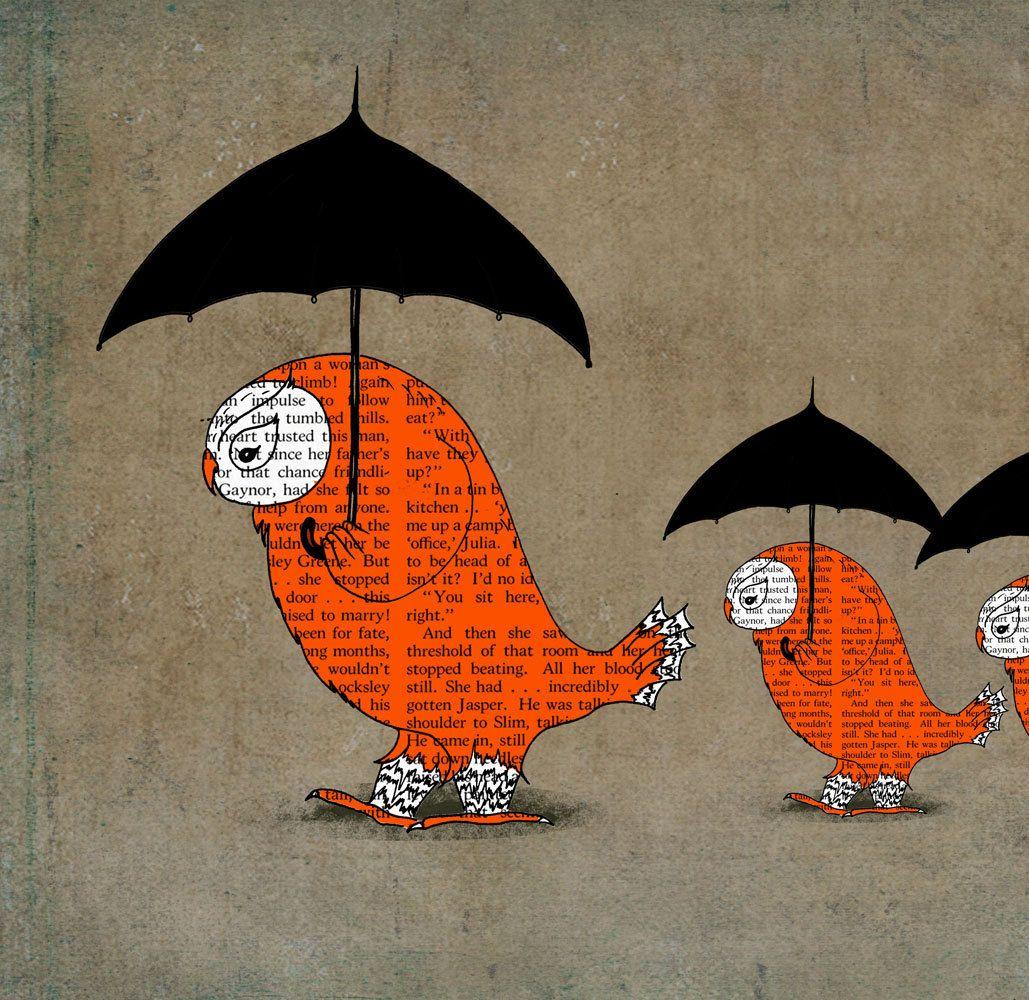 Umbrella illustration owl art print owl poster art for kids