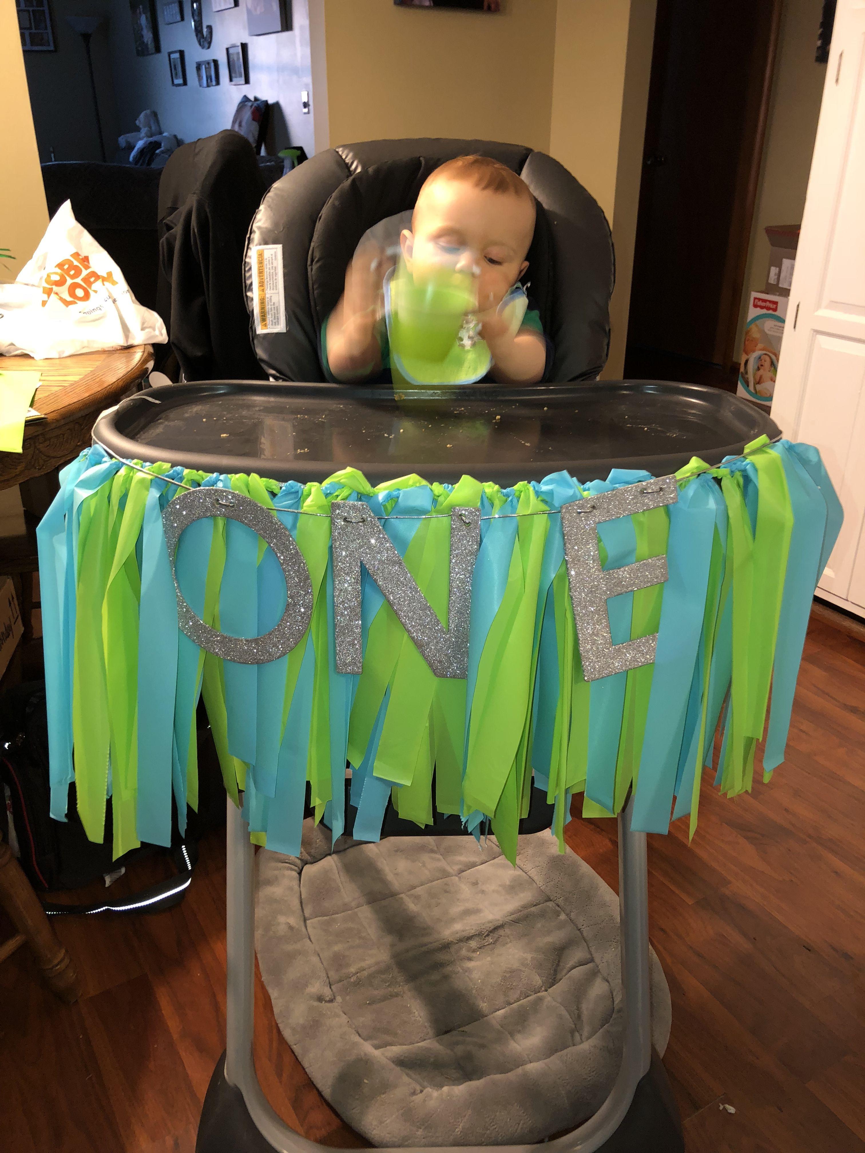 First Birthday High Chair Decoration Baby Boy Blue Green Dinosaur Party