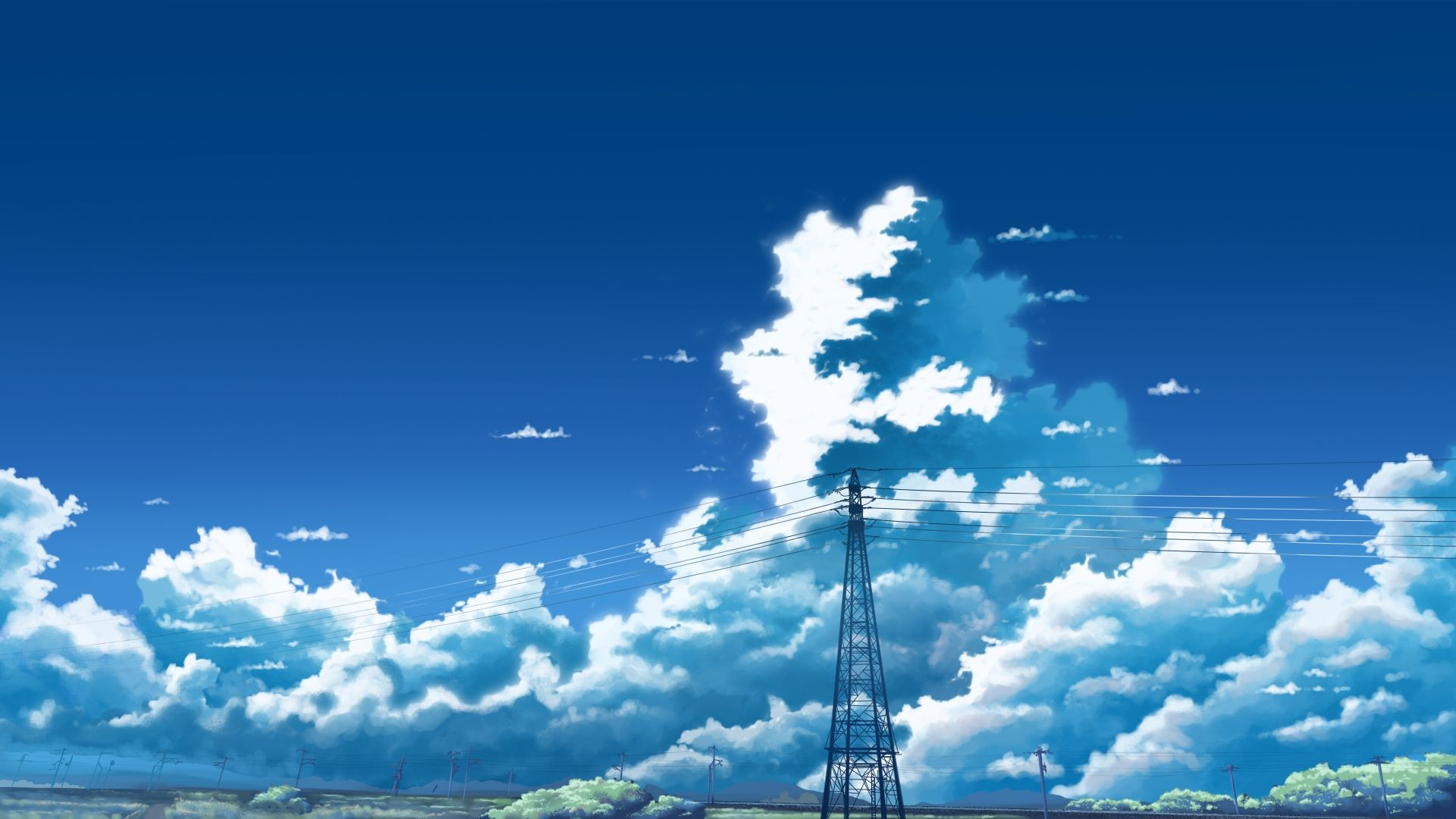 animeskyanimelandscapecloudsanime Phong cảnh, Anime