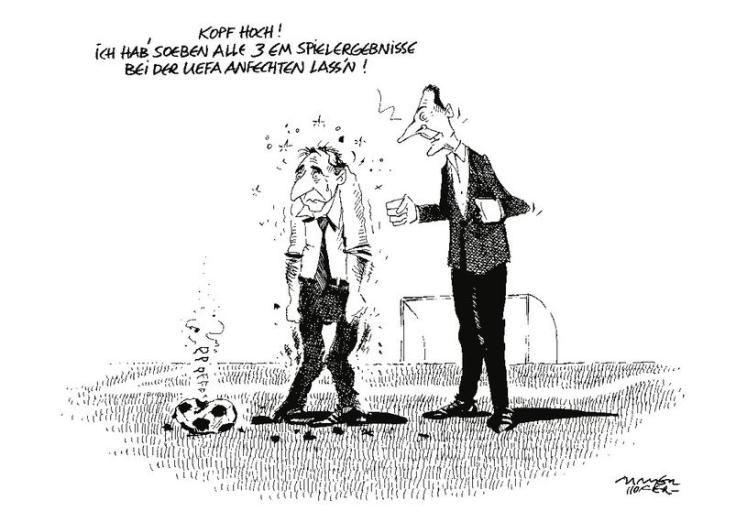 """OÖN-Karikatur vom 24. Juni 2016: """"Kann es noch schlimmer kommen?"""" Mehr Karikaturen auf: http://www.nachrichten.at/nachrichten/karikatur/ (Bild: G. Mayerhofer)"""