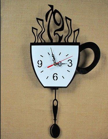Ffashion Modern Kitchen Decorative Wall Clock Novelty Coffee