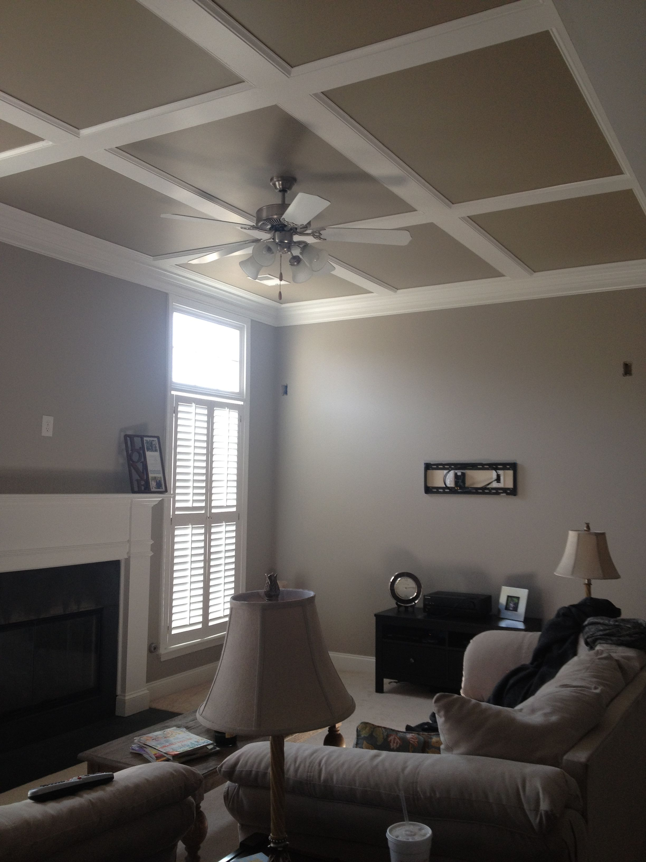 Behr Grey Mist on the walls and Behr Smoked Tan on the ceiling