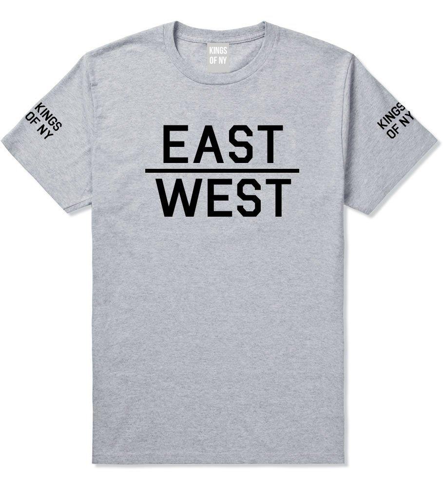 Kings Of NY East West Coast New York LA Cali Arizona T-Shirt XXX-Large Grey. 100% cotton. Short Sleeve T-Shirt. Printed Graphic Design. preshrunk. Streetwear Graphic T-Shirt.
