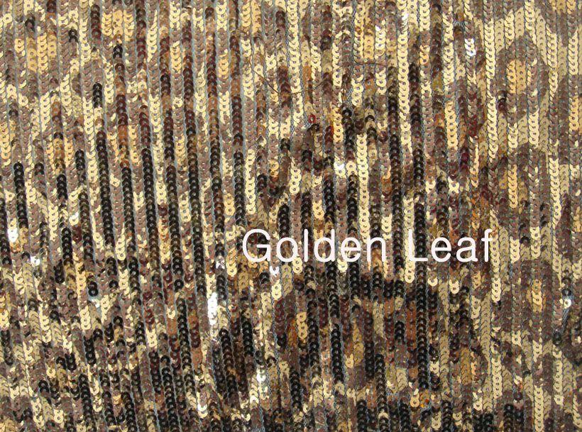 Tissu de broderie de Sequin avec l'impression de léopard (JPX1009)