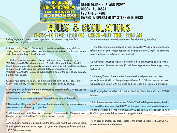 Here Are The Updated Rules Regulations For Bay Palms Rv Resort