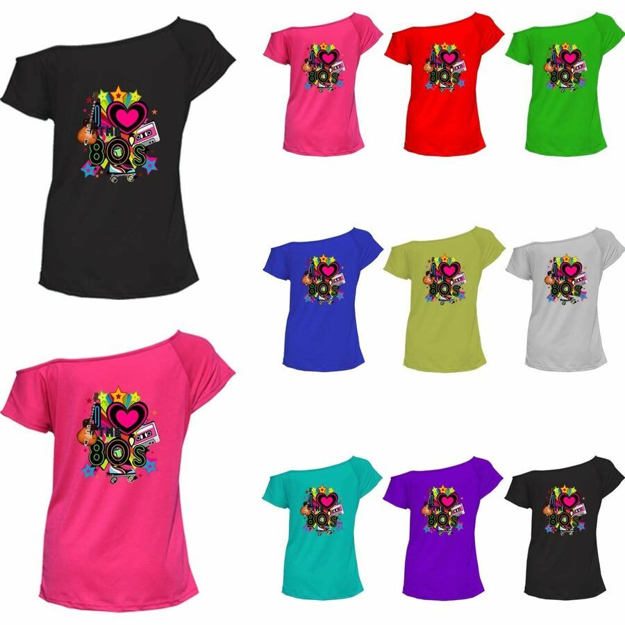 Ladies Women I Love the 80s Fancy Dress Hen Party Retro T-Shirt Top New 8-26