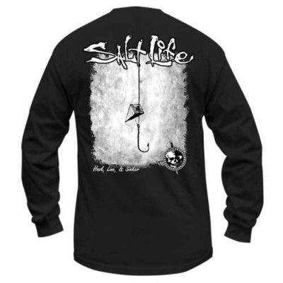 e4b7823dd946 Salt Life Men's Hook Line Sinker Long Sleeve Pocket Tee Shirt (Black;Small)