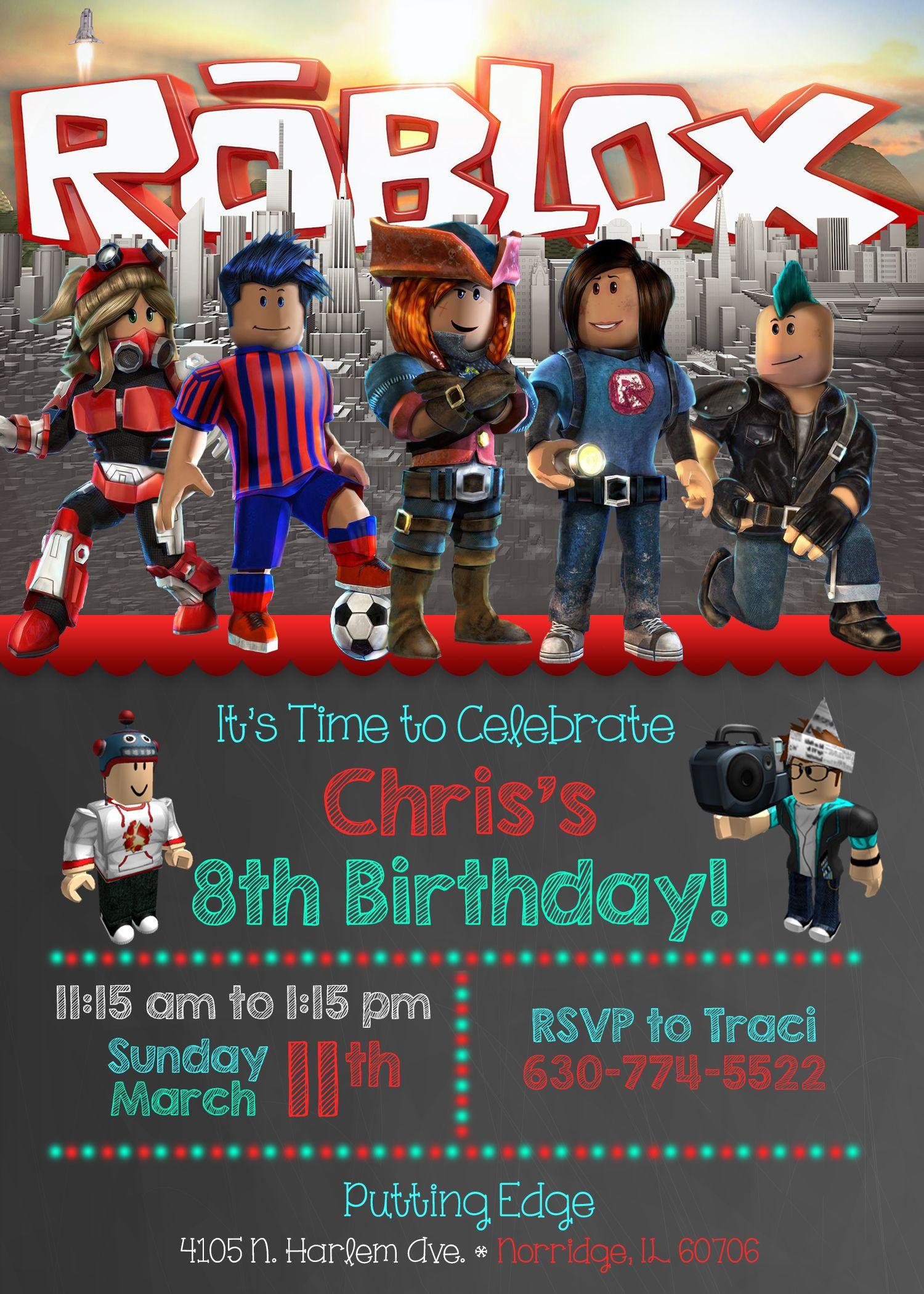roblox birthday invite birthday party