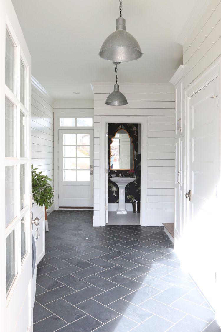 12x24 Tiles Cut Down To 6x12 Slate Herringbone Floors And Shiplap Walls Studio