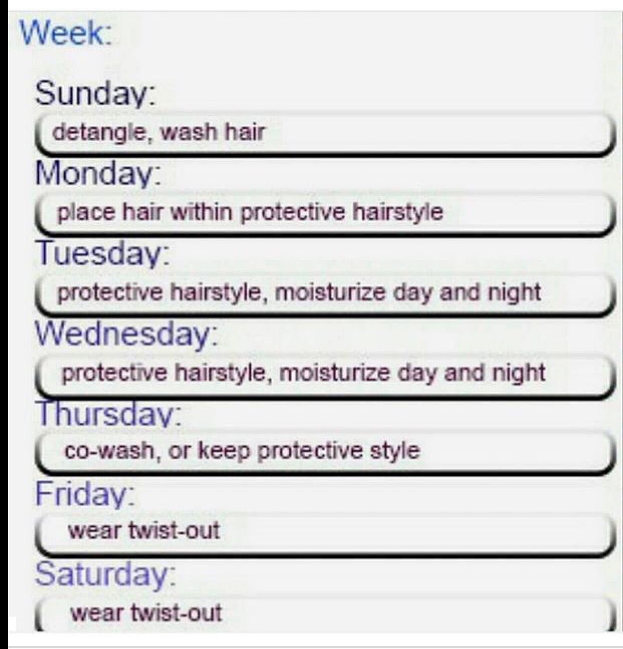 Hair Care Schedule With Images Natural Hair Routine Natural