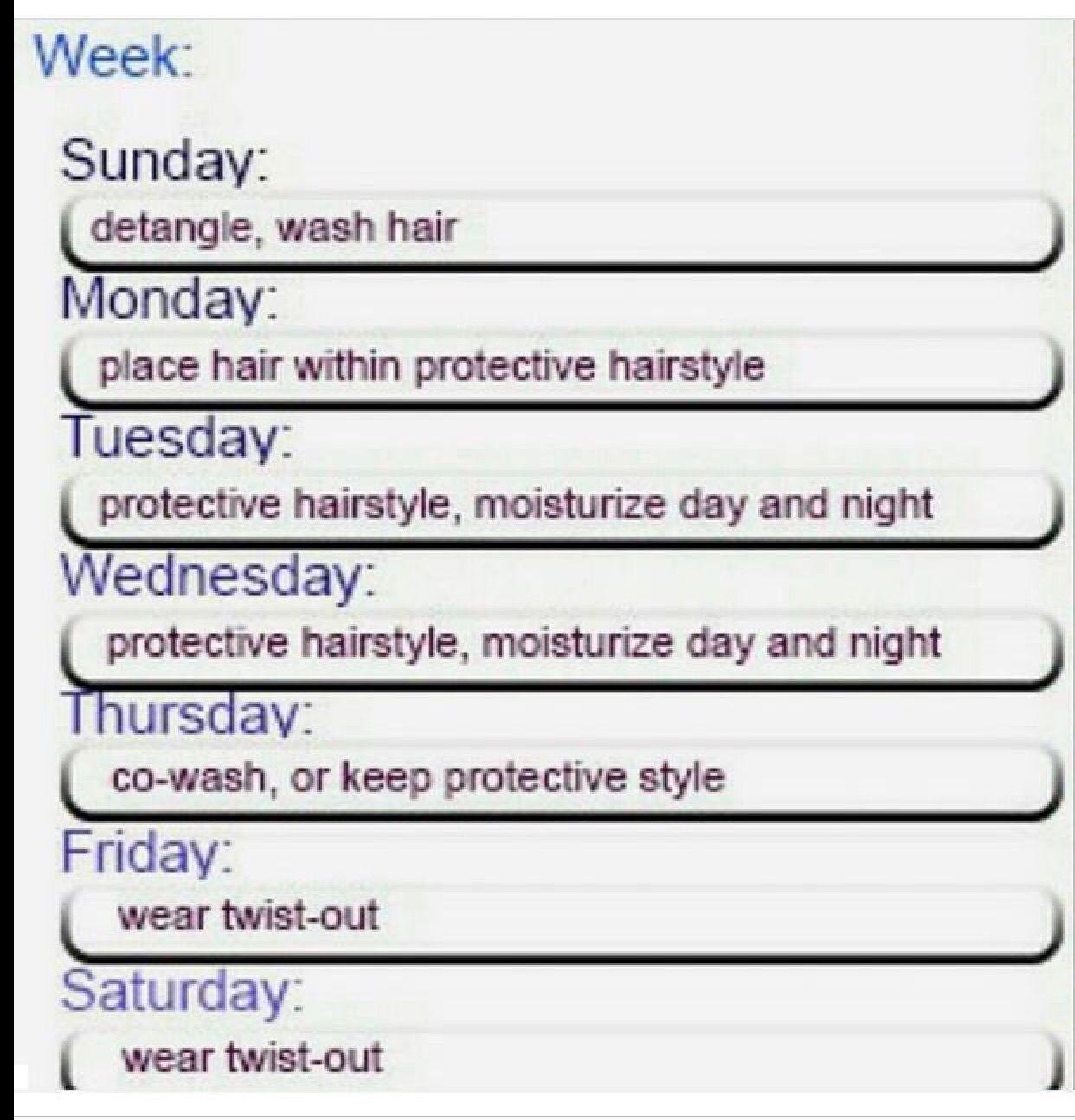 Hair care schedule Natural hair routine, Natural hair