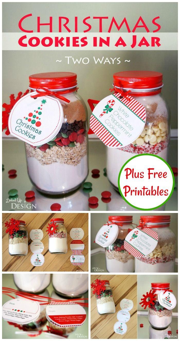 Christmas Cookies in a Jar DIY Gift - Free Printables | Food ...
