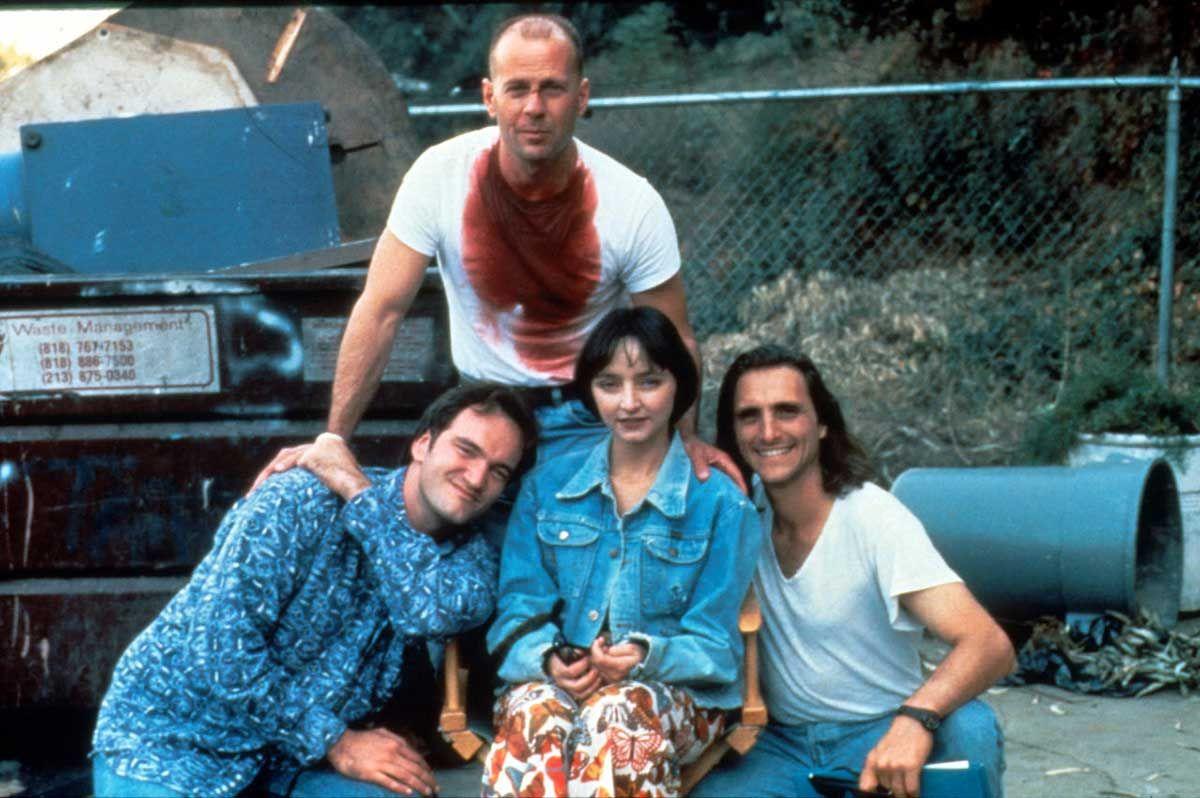 Quentin Tarantino, Bruce Willis, Maria de Medeiros and Lawrence Bender | Rare, weird & awesome celebrity photos